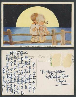 MABEL LUCIE ATTWELL Old Postcard They Won't Be Home Till Morning. Half Moon A486
