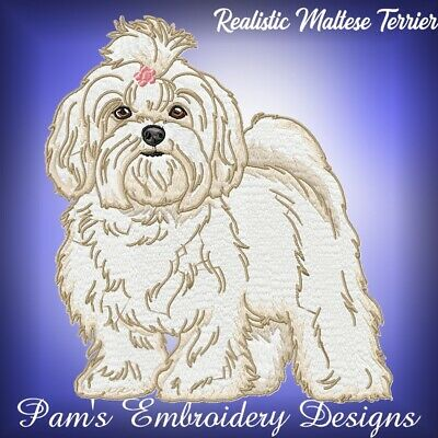 REALISTIC MALTESE TERRIER 10 MACHINE EMBROIDERY DESIGNS CD or USB