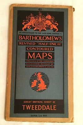 Bartholomew's revised Half Inch Contoured Maps TWEEDDALE No. 41