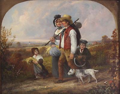ANTIQUE EARLY 19thC ENGLISH SCHOOL ORIGINAL OIL PAINTING FIGURES DOG COUNTRY