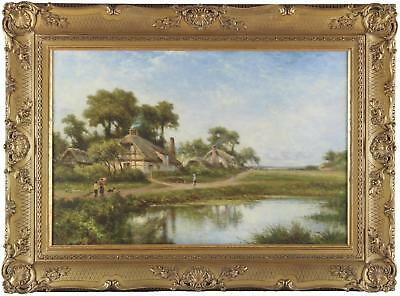 Benjamin W Leader Antique Oil Painting Country Cottage Figures Pond River Signed