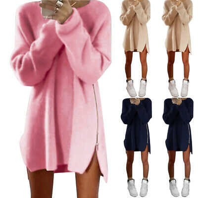 Womens Jumper Tops Long Sleeve Neck Loose Tunic Pullover Sweater Blouse Dress