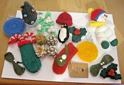 Selection Of 20 Hand Made Xmas Themed Items..photo On A4 Sheet For Scale.