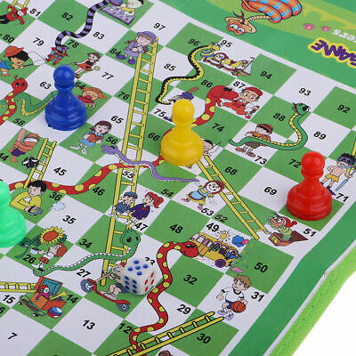 Snake & Ladders Ludo Family Traditional Game Kids Play Toy Mat Out Door Travel