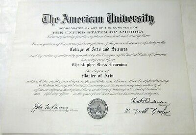 1966 Master of Arts Degree from The American University of Washington, D.C.