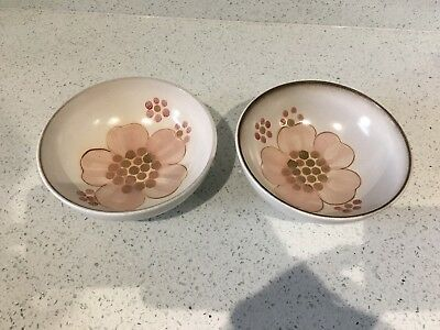 1 x Denby Stoneware minstrel pink Flower Pottery small Cereal Bowl 2 available