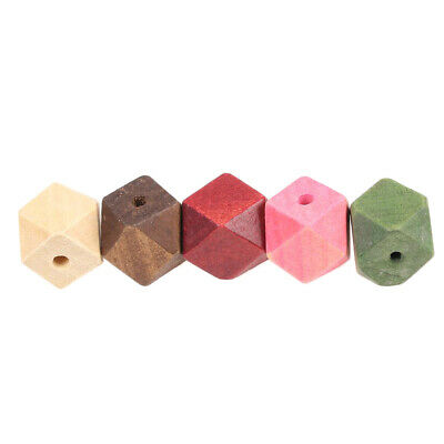 Mixed Wooden Beads Cross Sections Geometric Beads For crafts Jewelry Making 15mm