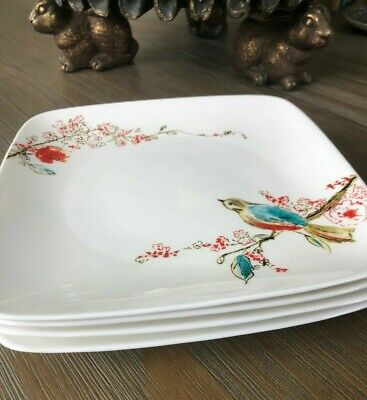 Lot of 4 Lenox Simply Fine CHIRP 8-inch Square Accent Plates MINT