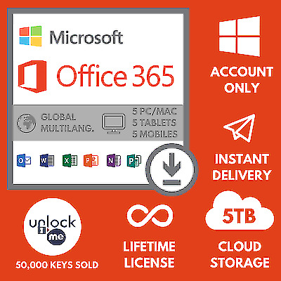 Microsoft Office 365 2019 Pro Plus Lifetime Account 5 Devices 5TB PC/Mac
