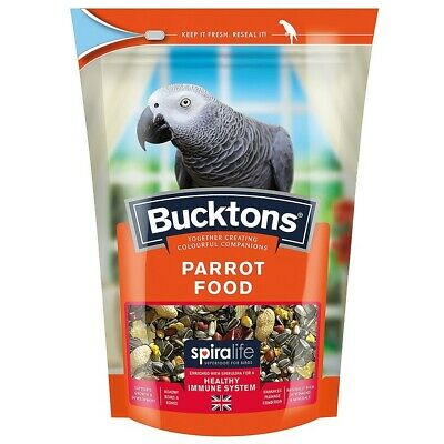*New* Bucktons Parrot Food Seed Spiralife Vitamins Minerals African Grey 2 Sizes