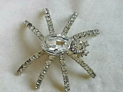 Vintage Jewellery Art Deco lovely silver & glass or paste set Spider brooch