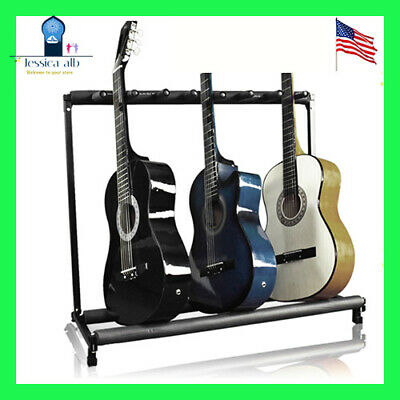 Folding Guitar Stand Rack Fit 7 w/Foam Padded rails Instrument Bass Foldable BCP