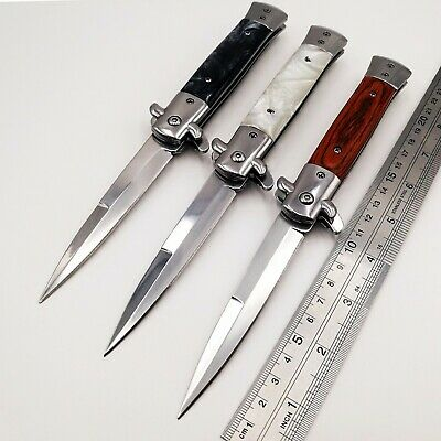 Italian Godfather Folding knife 440C Blade Acrylic Wood Handle Pocket Knives EDC