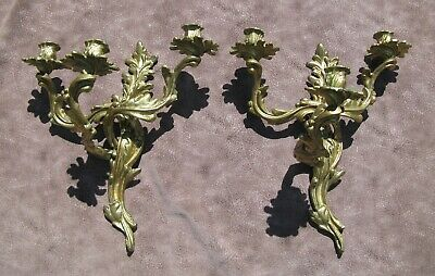 Pair Antique French Rococo Style  Brass Candle Wall Sconces 3 Arm Candelabras