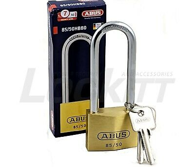 "ABUS 85/50HB80 Brass Padlock 80mm 3.15"" Hardened Steel Shackle"