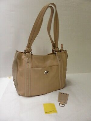 Sac cabas cuir & daim beige MANDARINA DUCK classic chic A4 leather bag