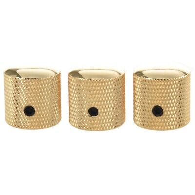 3PCS Gilded Metal Dome Knobs Knurled Barrel for Electric Guitar Parts Gold Z6T4