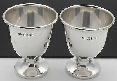 Pair Sterling Silver Egg Cups - Viners - Sheffield 1953 - Vintage