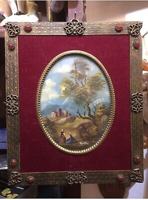 Antique Victorian Styl Painting On Copper By Holt Arts & Crafts Frame With Agat