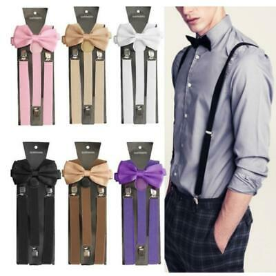 Unisex Adult 3 Clips Suspenders and Bow Tie Set Party Trousers N98B
