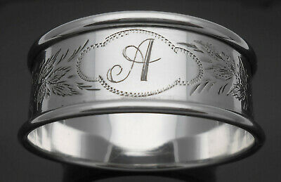Lovely Antique Initial 'a' Bright Cut Napkin Ring Sterling Silver 1897 Antique