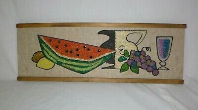 "Vtg Mid Century Gravel Art Wall Hanging Fruit Watermelon Grapes Wine 24""x8.5"""