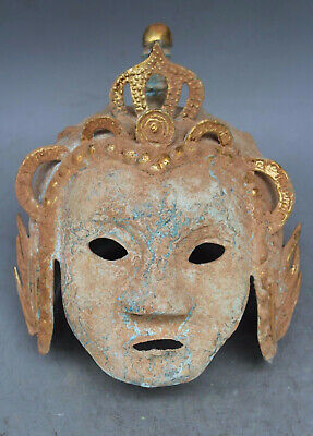 Rare Ancient Bronze Patina Ware Gilt Beauty Human Face Mask Masks Soldier statue