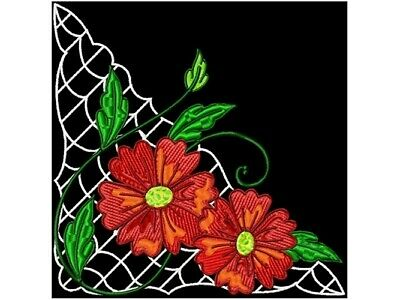 FLOWER CORNERS, BORDERS ,CENTRES MACHINE EMBROIDERY DESIGNS CD or USB
