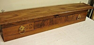 Antique Oak Eastlake Drawer Front Shelf w/ burled center &  Eastlake Pulls   112