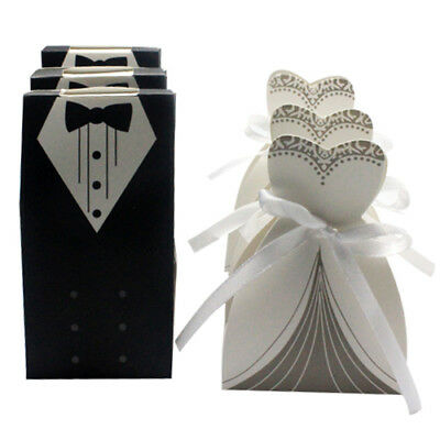 100x Dress & Tuxedo Bride Groom Wedding Favor Ribbon Candy Bomboniere Gift Boxes