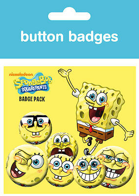 Spongebob Squarepants Expressions pack of 6 round pin badges (ge)