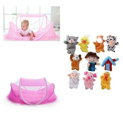 Portable Baby Folding Travel Bed Canopy Mosquito Tent with Finger Puppets