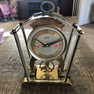 Aug Schatz & Sohne 59 German Brass Skeleton Carriage Mantel Clock 8 Day Wind-Up