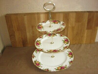 Royal Albert Old Country Roses Large 3 Tier Cake Stand 1962