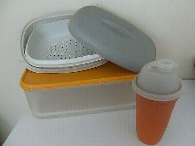 3 Vintage Pieces Tupperware - Salad Box, Steamer And Shaker