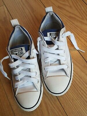 Kids Girls Boys White Leather Low Top All Star Converse Trainers Size Uk 1.5