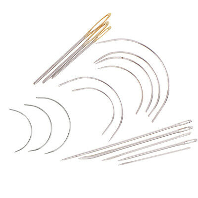 17Pcs Sewing Needles Repair Kit Upholstery Carpet Leather Curved Needles Set