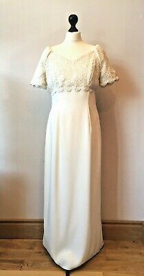 Vintage 1990s Wedding Dress Size 10 12 Empire waist, Lace Bodice, Short Sleeves