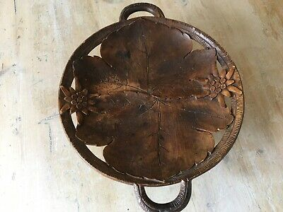 Old Thorens Musical Serving Plate.Swiss.Carved Black Forest wood,eidelwiess dec.