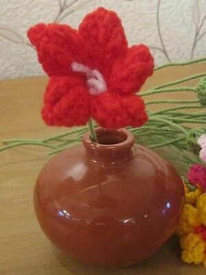 An Easter Display Hand Knitted Red Flower. Beautiful. 10 Inches Tall.