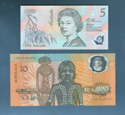 1992  $5 & 1988 $10, First Australian Polymer notes both in UNC condition.