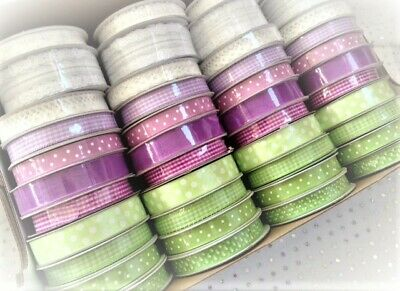 SPRING Lilacs Limes & Lace MINI Ribbon Reels 10-27 mm - 11 designs - var lengths
