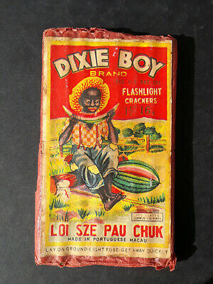 Original Dixie Boy Firecracker Label Flashlight Crackers Macau 1 1/2 16s