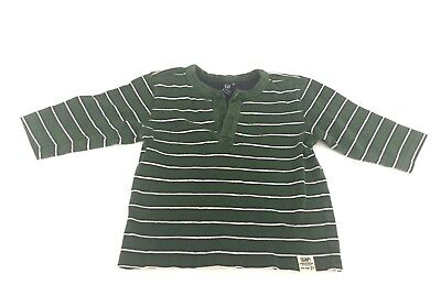 REDUCED!  SIZE 12 - 18  MTHS baby GAP LS COLLARED POLO SHIRT GREEN   100% COTTON