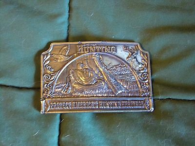 Vintage RARE Lewis Buckle Co Inc 1976 PETERSEN'S HUNTING Brass Belt Buckle USA