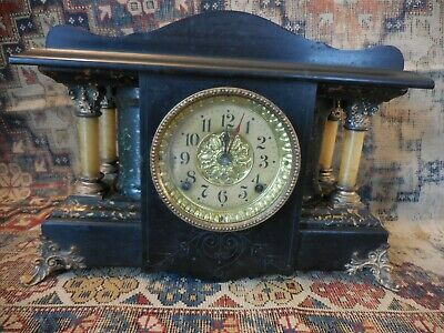 Antique Seth Thomas Mantle Clock - Adamantine Enamel Case - Larkin #35