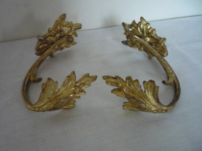 Pair Antique French Gilt Ormolu Curtain Tie Back Hooks  Acanthus Leaf Design