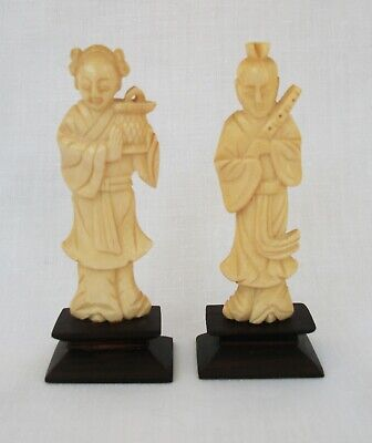 Chinese Carved Bovine Bone Immortals X2 On Stands - Qing Period