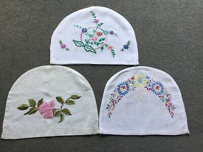 Job Lot Vintage beautiful hand embroidered Tea cosies Teapot Covers x 3