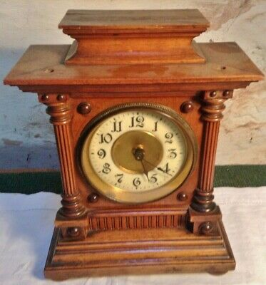 antique hac mantel clock 1890s transistor battery movement working enamel dial